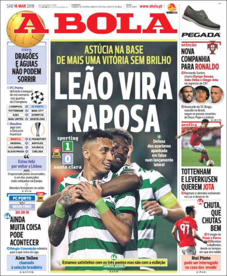 Portadas de los diarios deportivos del 16 de marzo de 2019