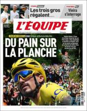 Julian Alaphilippe continúa de líder en el Tour de France por tercer día consecutivo. (L'Equipe)