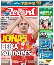 Jonas se despide de los seguidores del Benfica y con una derrota ante Anderlecht en el Estádio da Luz. (Record)