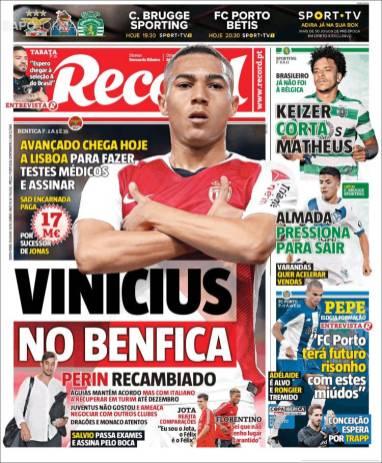 Carlos Vinícius podría ser nuevo jugador del Benfica. (Record)