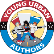 Multicolored logo for young urban authors showing stylized people carrying a pen