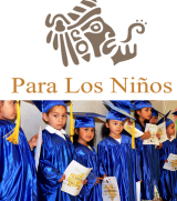 Logo for PLN and photo of young kids in line wearing graduation caps and gowns