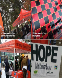 Four pictures of a promotional table outside