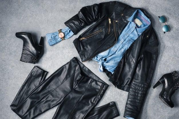 Calça e jaqueta de couro