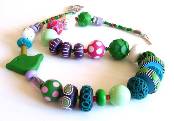 Polymer clay necklace by Nadege Honey