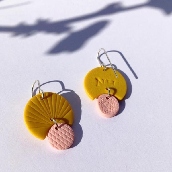 mustard clay earrings by nadege honey