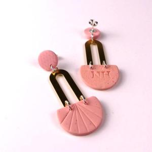 pink clay earrings by Nadege Honey