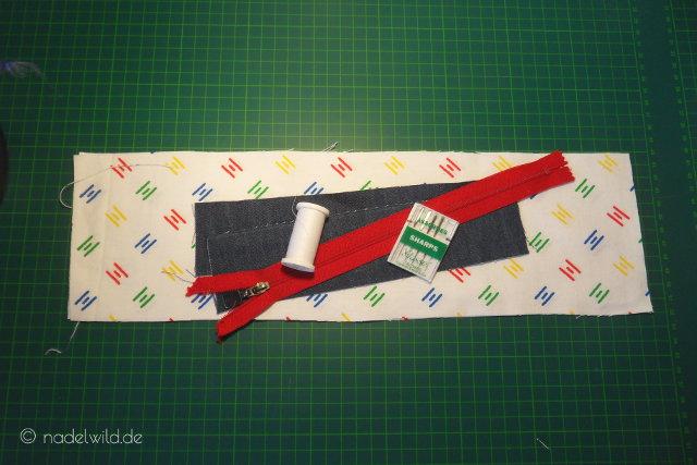 Material für eine Reißverschlusstasche