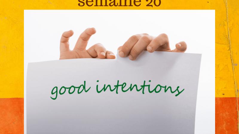 Intentions semaine 20, pour être focus sur ses objectifs de vie