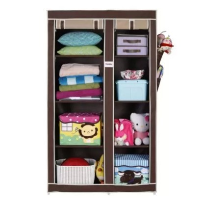 FOLDDON Fold-able Wardrobe with 8 Racks, Standard Size (Beige and Brown)