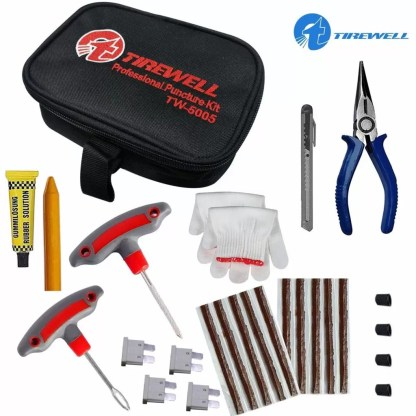 TIREWELL TW-5005 10 in 1 Universal Tubeless Tyre Puncture Kit with Storage Bag, Emergency Flat Tire Repair Patch Tool Bag for Car, Bike, SUV, & Motorcycle