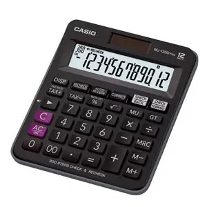 Casio MJ-120D Plus - BK 300 Steps Check and Correct Desktop Calculator with Tax & GT Keys & On Display Indication of Active Constant