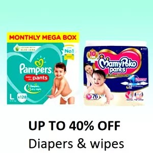 Up to 40% off Diapers and Wipes - Offer and Discount In Amazon