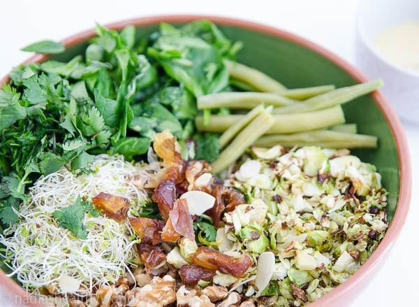 Salade met gegrilde spruiten