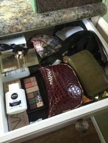 The makeup and accessories drawer -- because I'm addicted, brought too much, and it's a problem haha