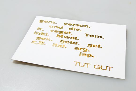 Goldfolie Postkarten Heissfolienprägung Typografie Formfleischvorderschinken