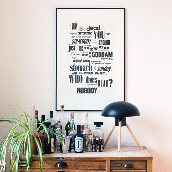 Letterpress Poster Typografie Handsatz Interieur BoConcept Bar