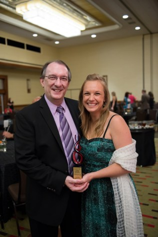 Me with my fantastic publisher, Steve Laube of Enclave Publishing. He's the best. We both decided the award looked like fire worms.