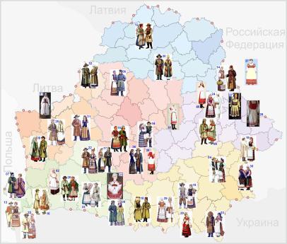 Karte der belarussischen Trachten