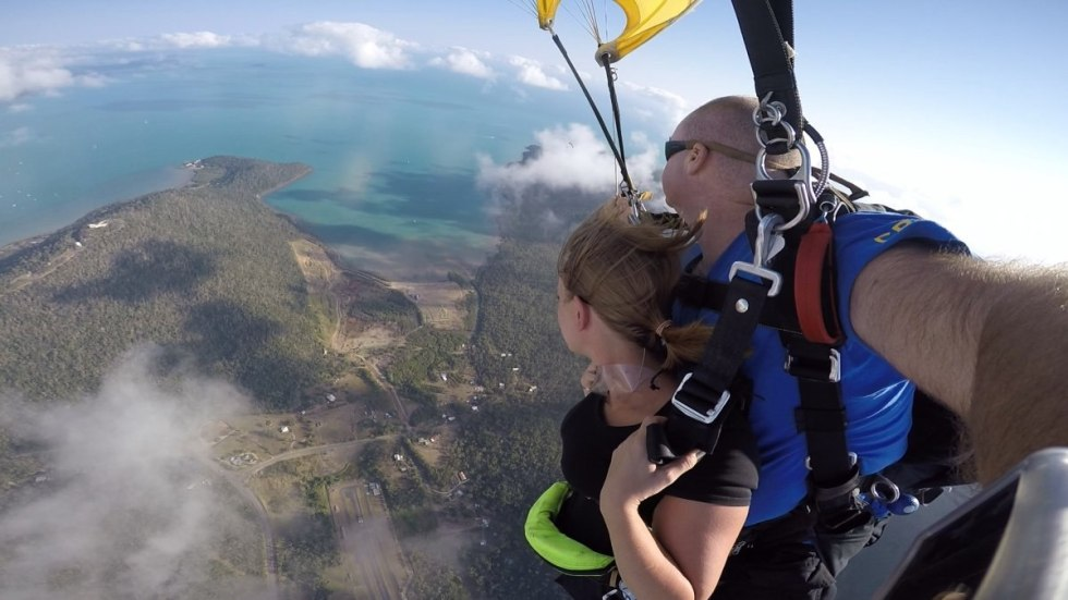 The view just before the landing after the parachute has opened
