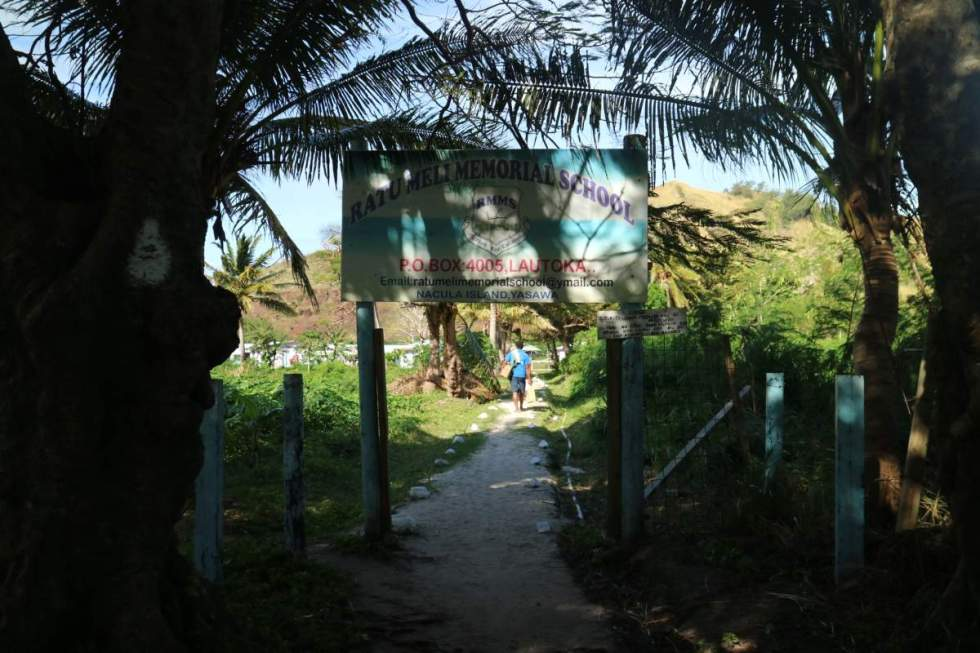 entrance to the school in nacula village