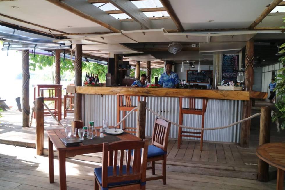 view to the bar of blue lagoon resort, fiji