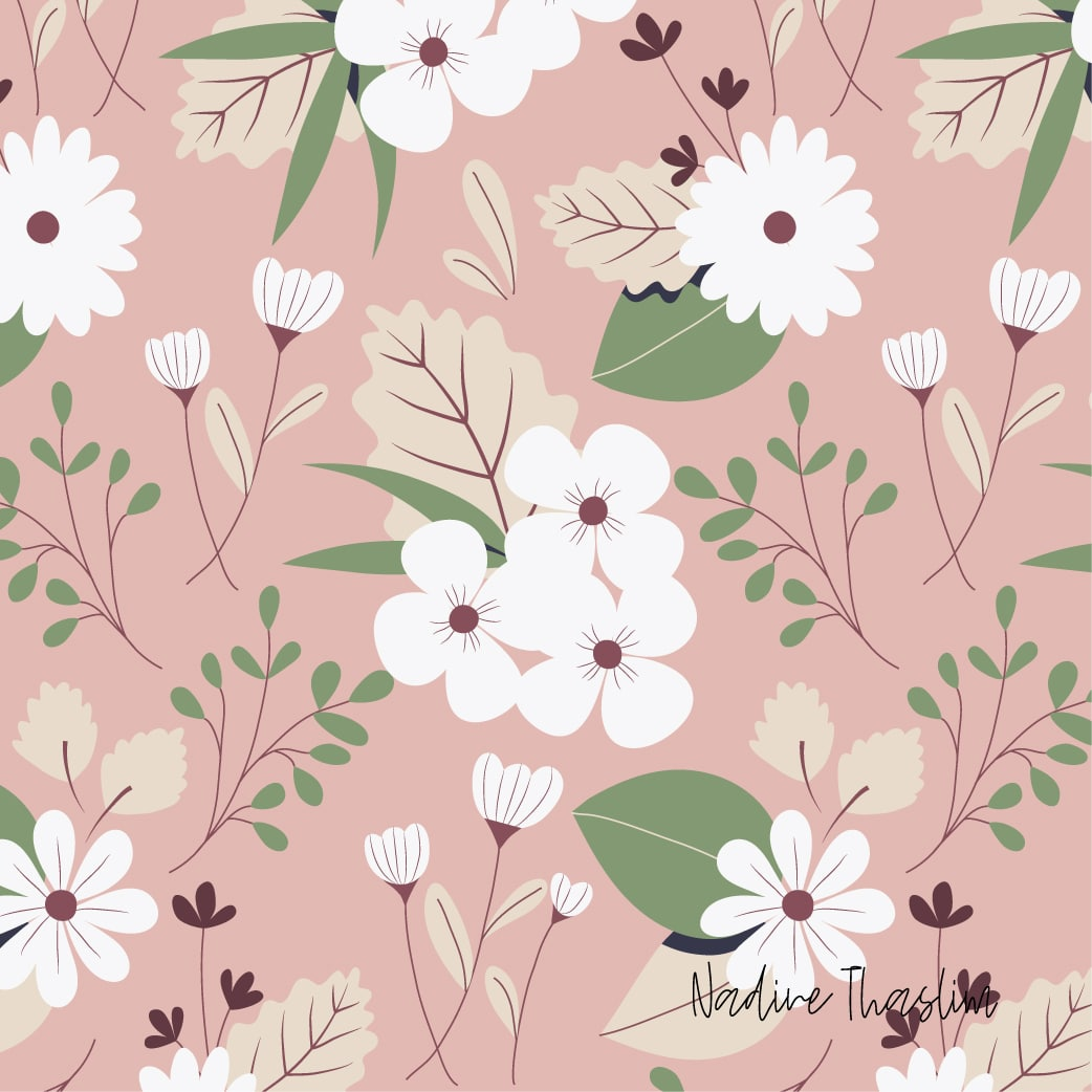 White Flowers Pattern in pink background