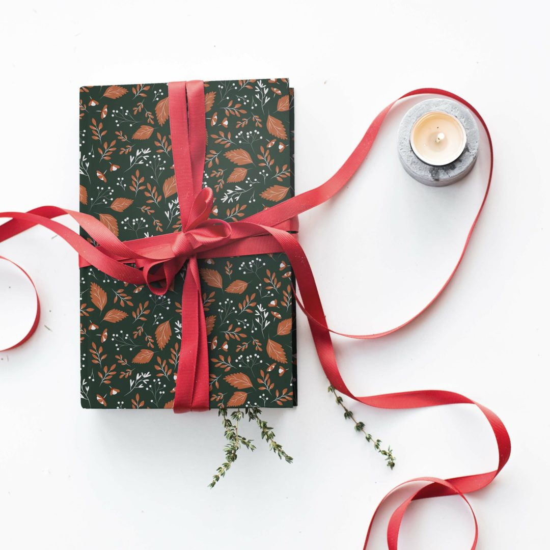Christmas gift box with red ribbon