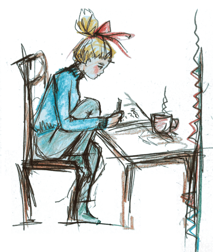sketch of a girl writing in her notebook