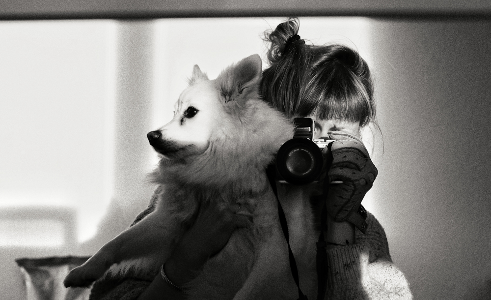 Selfie with dog. Creativity