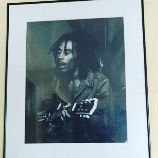 This original Neville Garrick print hangs in the Omowale dining room.#RastamanLiveUp #AfricaUnite #HappyBornDayNesta