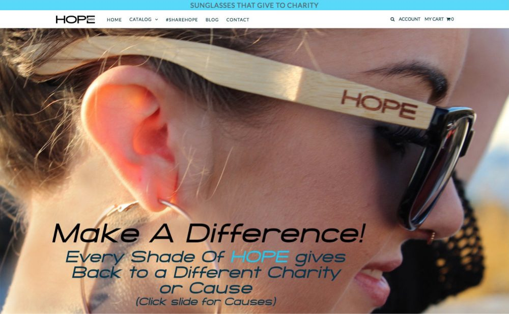 hope shades website design