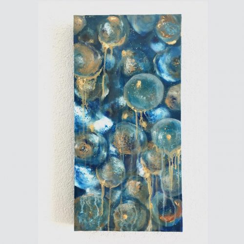 Blue underwater on canvas with resin finish