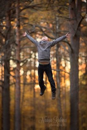 Autumn Portrait of a Flying Boy