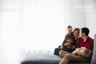 Family with a Newborn Indoors