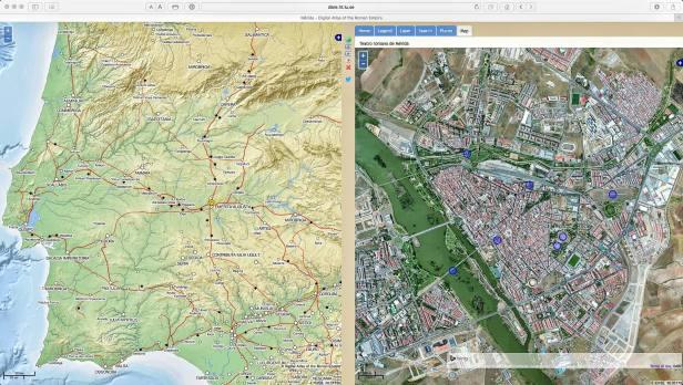 Online Datenbank der Lund Universität. Der Screenshot zeigt nähere Angaben zur antiken Stadt Emerita Augusta. Zu sehen sind hier die Lage der baulichen Überreste aus römischer Zeit.