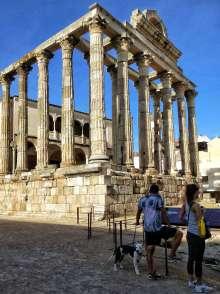 """Was in den Reiseführern als Tempel der Diana bezeichnet wird, war in Wirklichkeit Teil des Forums der Stadt. Er diente dem Kaiserkult, in dem die Imperatoren als Götter verehrt wurden. Der Name """"Dianatempel"""" wurde bei der Entdeckung irrtümlich vergeben."""