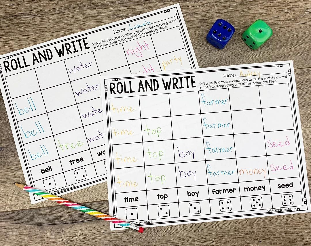 Roll And Write Sight Word Practice Editable