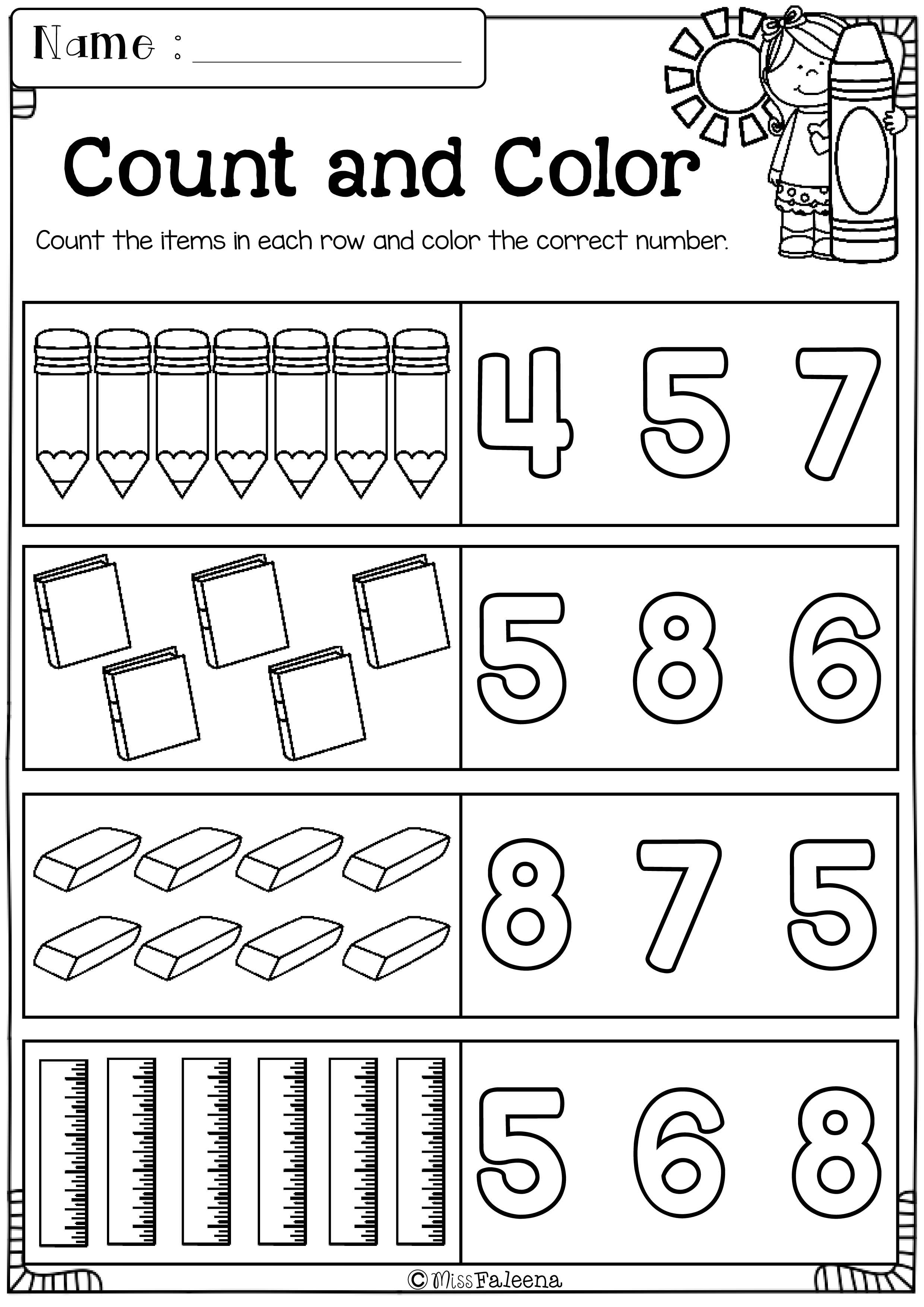 Cow Counting Worksheet