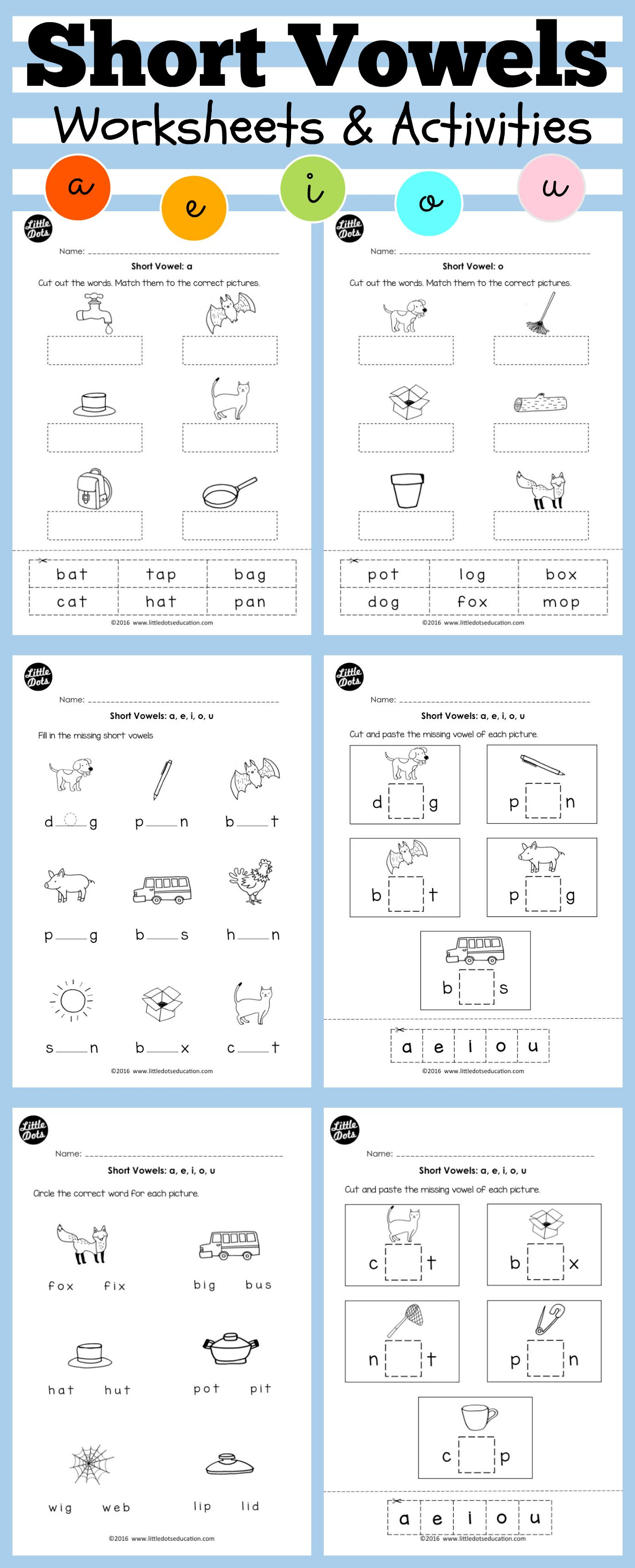 Short Vowels Worksheets And Activities For Preschool Or