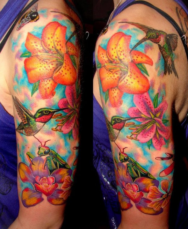47-Flower-and-hummingbird-half-sleeve-tattoo