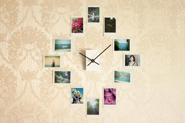 DIY-clock-with-photo-frames