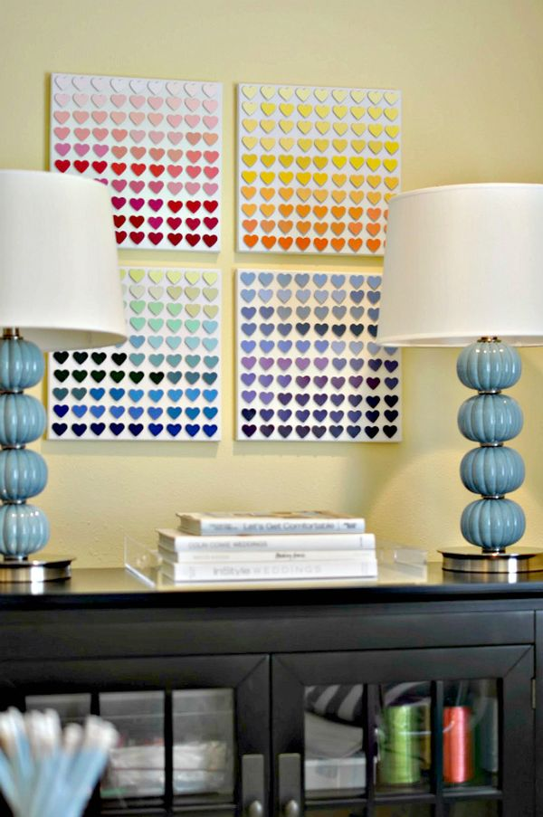 Rainbow-paint-chip-wall-art-DIY-idea