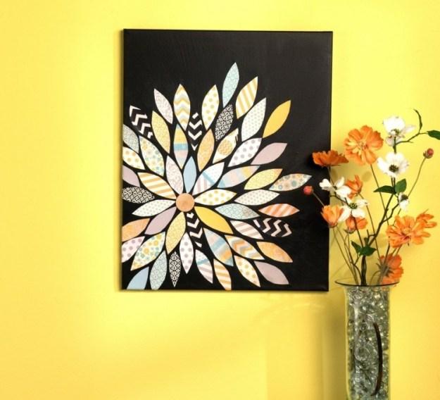 Wandbilder-selber-machen-Papier-Blume-DIY-Ideen