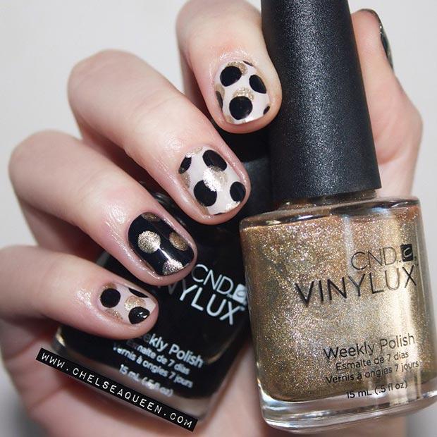 Black-and-Gold-Polka-Dot-Nail-Design
