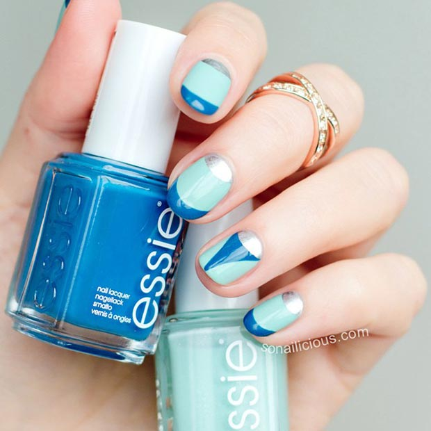 Blue-and-Silver-Nail-Design-for-Short-Nails