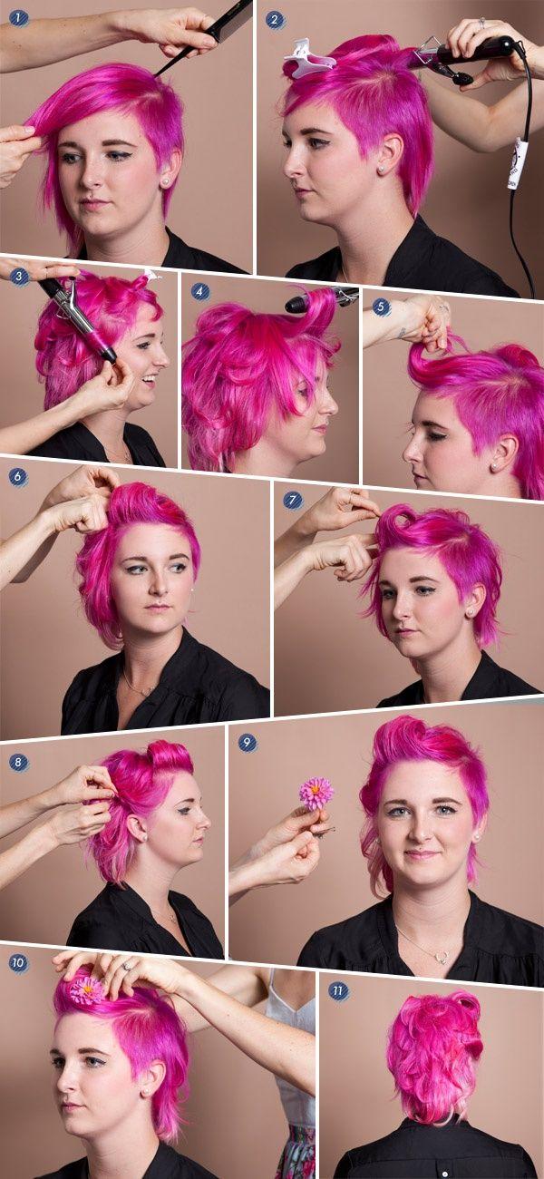 Short-hair-hairstyle-tutorials-Pink-hair-style