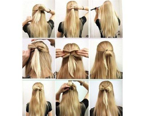 бантик с распущенными волосами