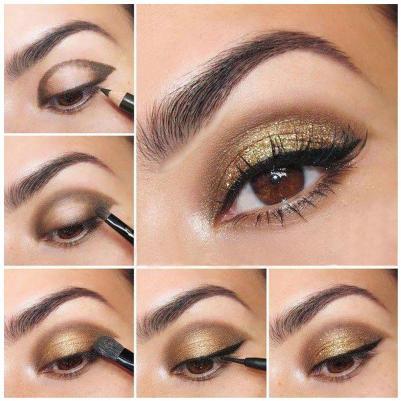 Золотистый макияж для карих глаз пошагово