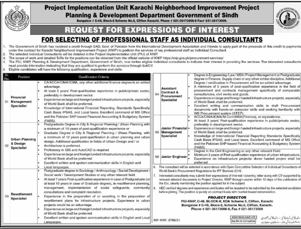 Planning And Development Department Sindh Jobs Advertisement